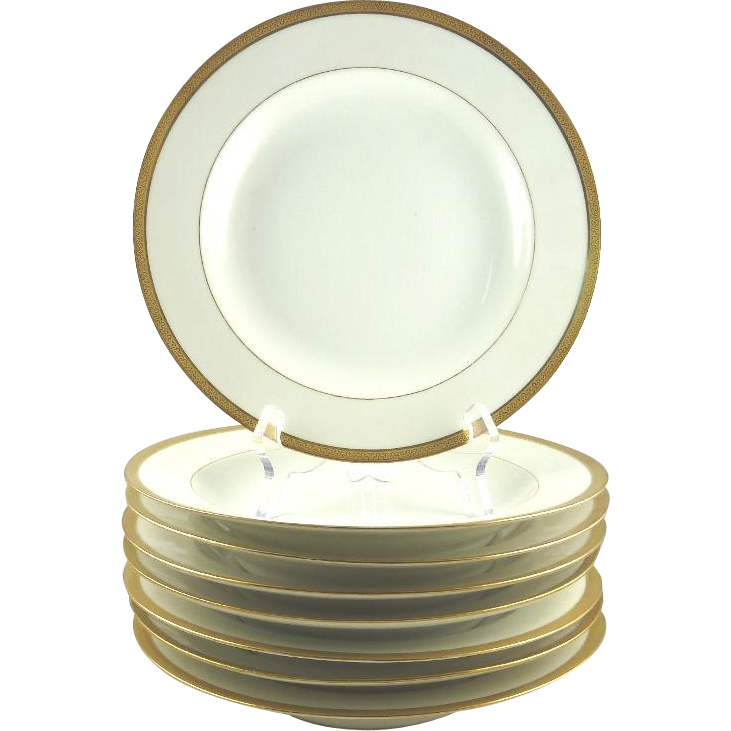 Limoges Rimmed Soup Bowls Set of Eight White with Raised Gilt Border Cornonet France French Porcelain