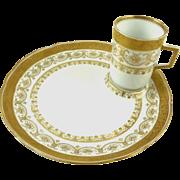 Antique Porcelain Dessert Plates with Demitasse Cups Set of Eight C 1890 Wilhelm & Graef
