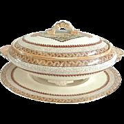 Antique Staffordshire Soup Tureen & Underplate Brown Transferware William Brownfield C 1860 Victorian Era Sheep in Pastures