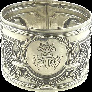 "Antique French Sterling Silver Napkin Ring Ornate Design Monogrammed ""AM"""