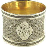 Antique French Sterling Silver Napkin Ring with Guilloché Work Initials TG