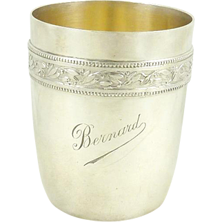 """Antique French Sterling Silver Timbale Goblet or Cup """"Bernard"""" by Gustave Keller"""