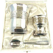 French Silverplate Christening Set Baptismal Cup, Egg Cup and Spoon Original Presentation Box