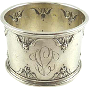 Antique French Silver Napkin Ring  Bell Flower Motifs