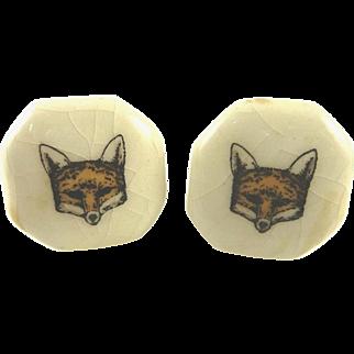 Vintage Fox Head Ceramic Cabinet Pulls Knobs White Equestrian Interest