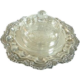 Antique Baccarat Crystal Cheese Bell Dome with Platter