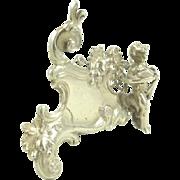 Antique Silver Menu Holder English Import by Berthold Mueller Putti Cherub
