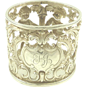 Antique English Sterling Silver Napkin Ring Pierced Work with Cherubs Victorian Era 1899