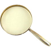 "Antique Gorham Sterling Silver & Gilt Magnifying Glass 5"" Diameter Hand Held"