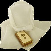 "Antique French Christening Cape with Hood for Baptism White Organza Christening Girls' Bonnet 32"" Long Cape de Bapteme"