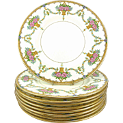 "Antique Minton Plates  9"" Salad or Dessert  Set of 8 Gilt Swags Flowers & Baskets"