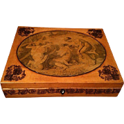 Antique Georgian Box with Transfer Decoration & Pen Work Allegorical Scene
