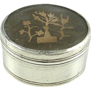 Antique Silver & Mother of Pearl Snuff Box with Paper Cut Work Scherenschnitte Miniature Paper Cutting