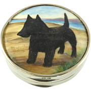 Antique English Sterling Silver, Gilt, & Enamel Box Hand Painted with Scotty Dog