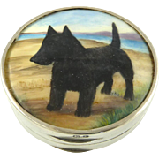AnAntique English Sterling Silver Snuff Pill Box  Gilt & Enamel Hand Painted with Dog