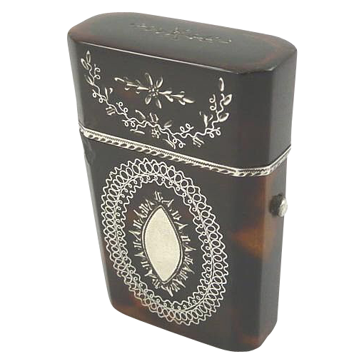 Antique Tortoise Shell  & Silver Etui with Scent Perfume Bottle with Intricate Silver Work