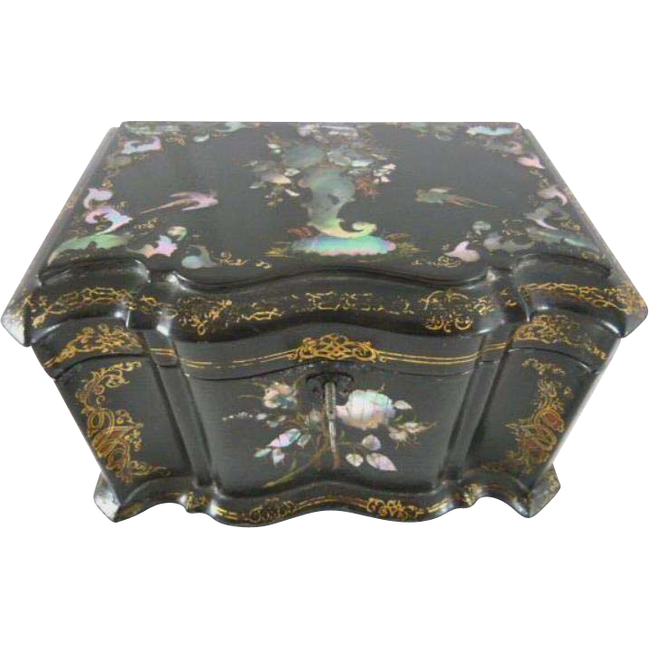 Papier Mache Tea Caddy Mother of Pearl Abalone Inlay~Bird & Floral  C. 1850