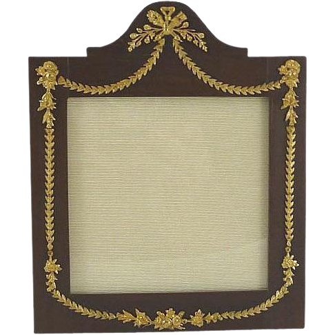 Antique French Wood & Gilt Picture Photo Frame Torch and Arrow Motif