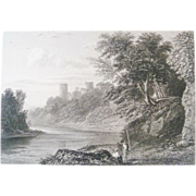 Antique Steel Engraving by E Finden Bothweld Castle Circa 1830