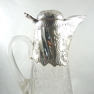 Antique French Sterling Silver & Crystal Decanter Wine Claret Jug