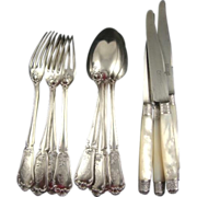 Antique French Flatware Twelve Pieces Including Mother of Pearl Knives