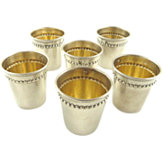 Antique French Sterling Silver & Vermeil Liquor Cups