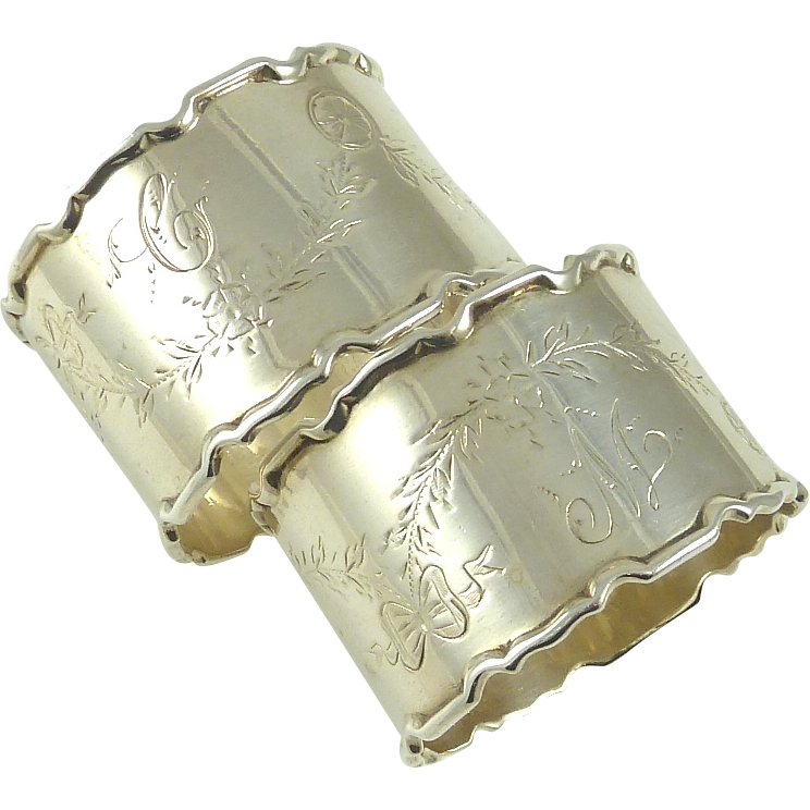 antique sterling silver napkin rings boxed pair