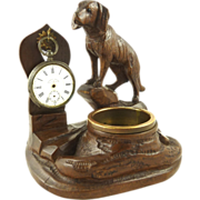 Antique Black Forest Pocket Watch Holder & Change Holder with Dog