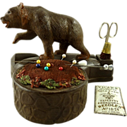 Black Forest Bear Sewing Set Pin Cushion Scissors Thimble