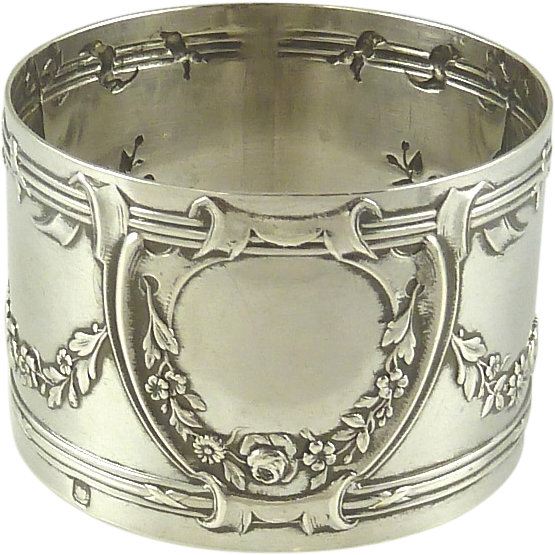 antique sterling silver napkin rings roses
