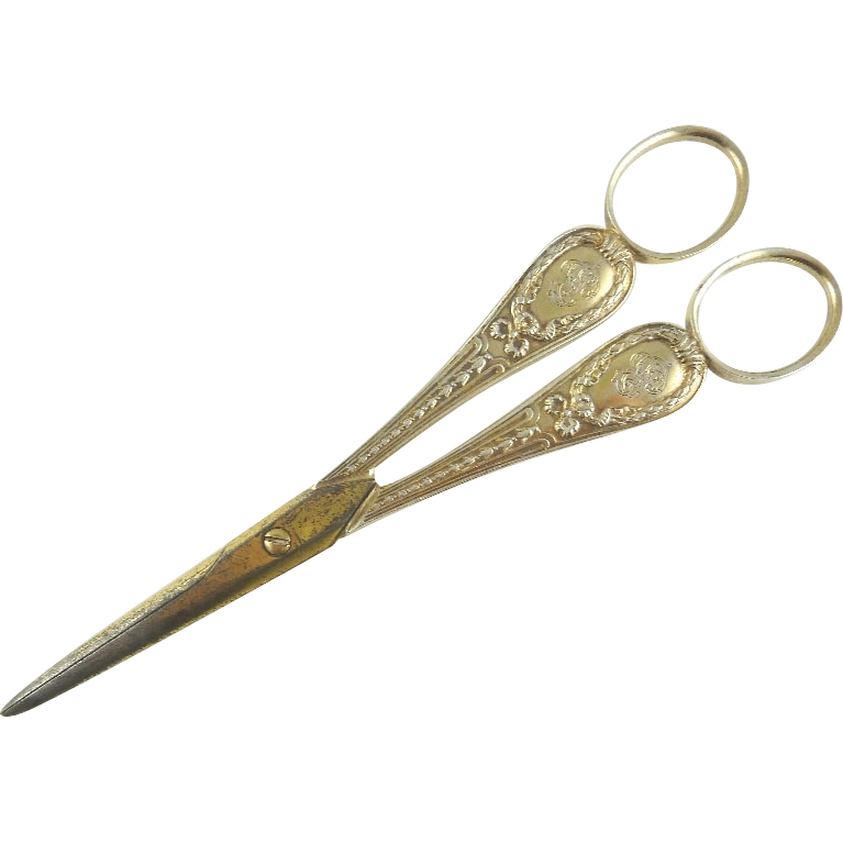 Antique Puiforcat Sterling Silver & Vermeil Grape Shears Scissors