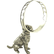 Antique French Silver Figural Pen Holder or Cigar Holder  in Form of a Dog