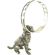Antique French Silver Figural Cigar Holder or Pen Holder Dog With Ring