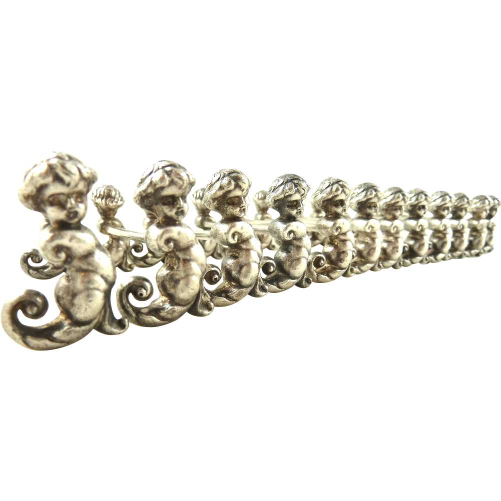 Antique French Silver Figural Knife Rests Sea Nymphs Set of 12