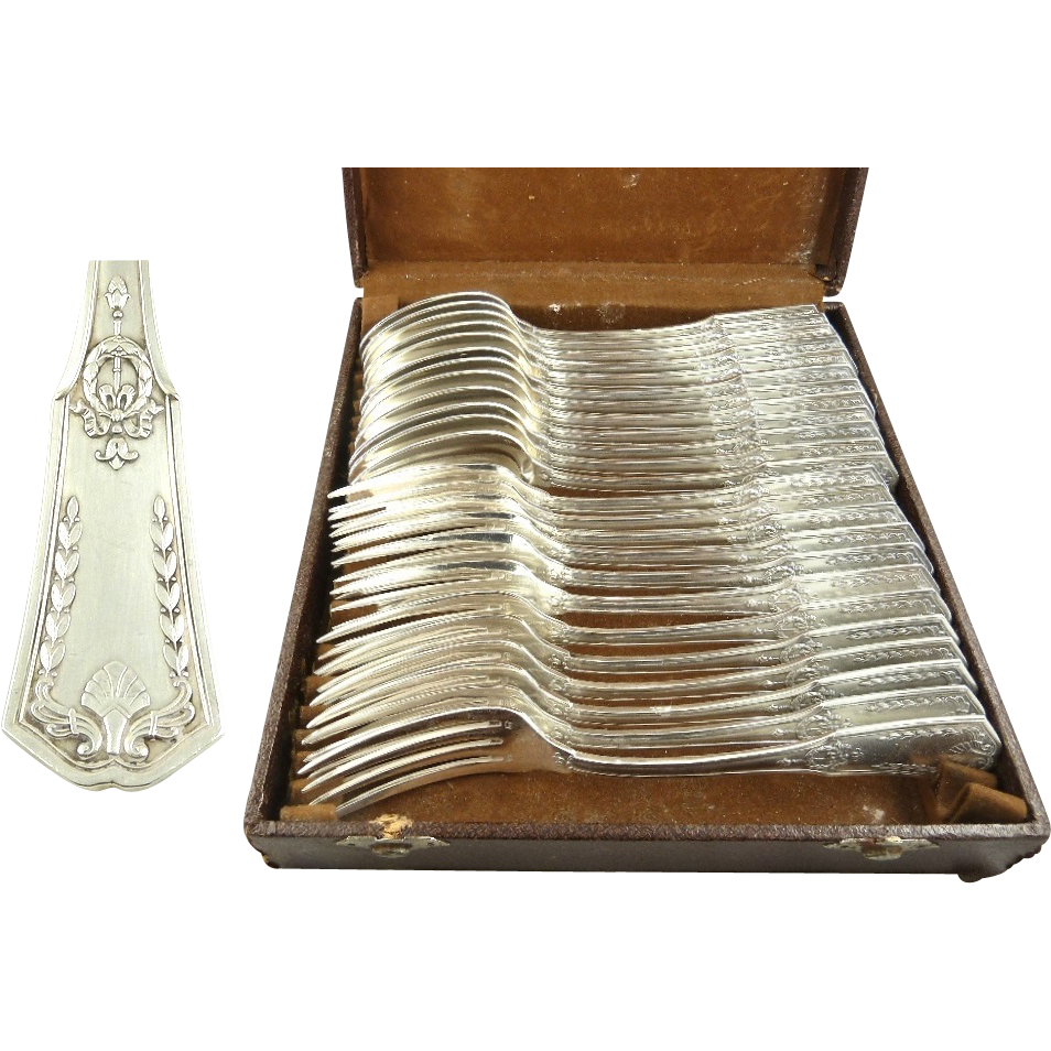 French Silver Flatware Service for Twelve 24 Pieces with Case