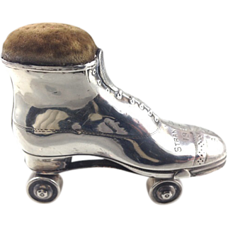 Antique English Sterling Silver Pin Cushion Novelty Roller Boot or Skate