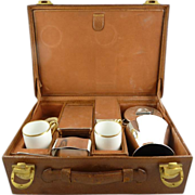 Driving Touring Cased Leather Cased Picnic Set by Gustave Keller Brandy Warmer & Kettle