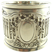Antique French Silver Napkin Ring Ornate Ribbons & Roses
