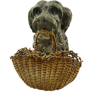 Antique French Metal Dog Figurine With Brass Woven Shopping Basket