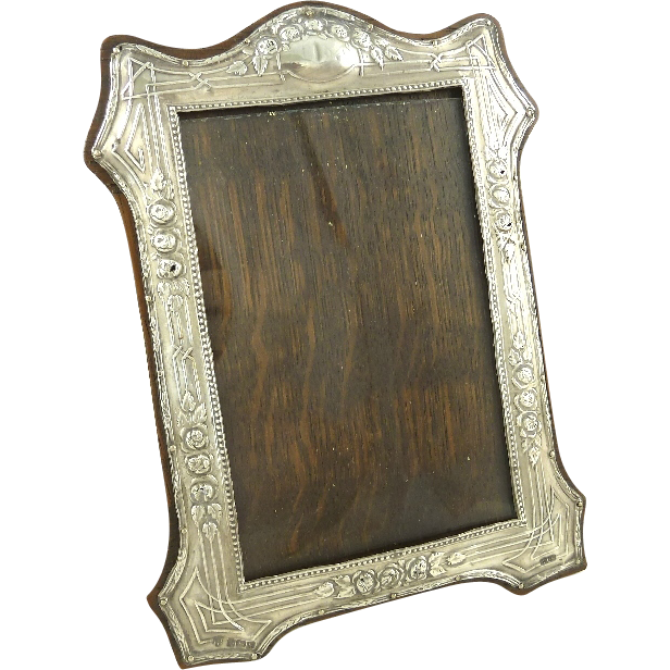 Antique English Sterling Silver Picture Frame Edwardian 1909 Roses
