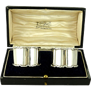 Antique English Sterling Silver Napkin Rings Boxed Pair Birmingham 1912