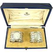 Antique English Sterling Silver Napkin Rings Boxed Pair Birmingham 1913