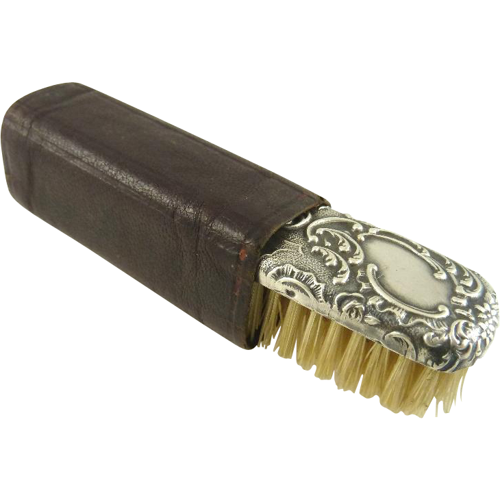 Antique French Silver Mustache Brush with Leather Holder
