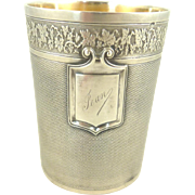 Antique French Sterling Silver & Gilt Timbale Cup or Goblet with Grapes & Vine Decoration