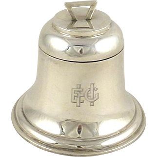 Antique English Sterling Silver Inkwell in the Form of a Bell Hallmarked 1909