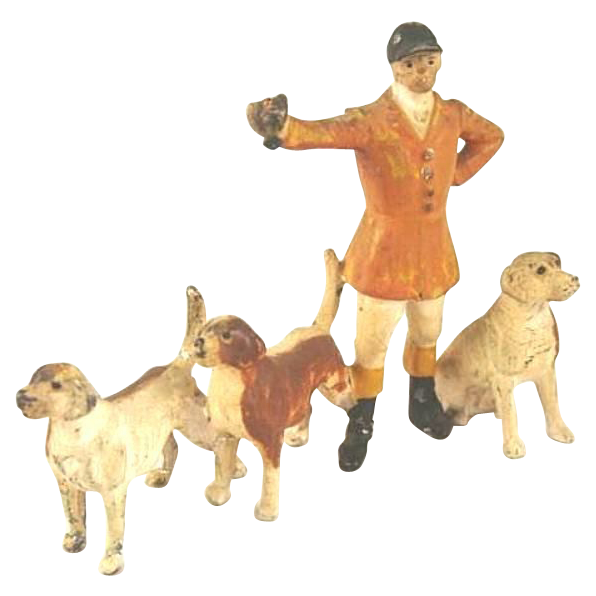 Antique German Metal Figures~Master of the Fox Hunt & Dogs