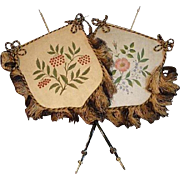 Antique Face Screens Silk with Fringe Victorian Hand Painted Pair
