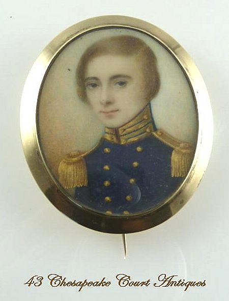 Antique Miniature Portrait Young British Officer in Uniform 14K Gold Frame