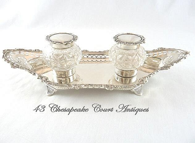 Antique English Sterling Silver Double Inkwell Edwardian 1902