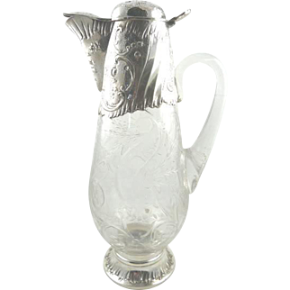 """Antique French Sterling Silver & Crystal Decanter Wine Claret Jug  12 1/2"""" Tall"""